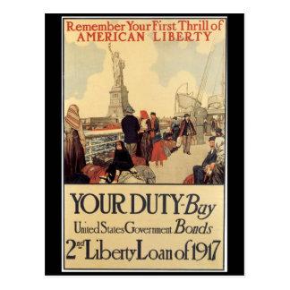 War Postcards, Vintage Liberty Loan - 1917 Postcard