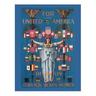 War Postcards, Vintage USA - Immigration of women Postcard