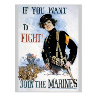 War Poster Postcards, World War I Marines Postcard