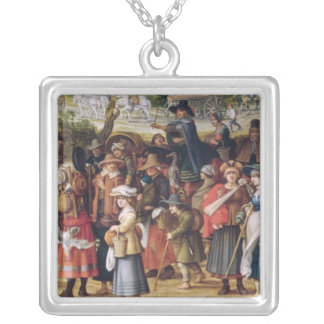 War Scene Silver Plated Necklace