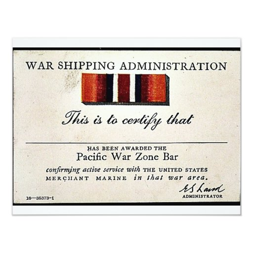 War Shipping Administration 4.25x5.5 Paper Invitation Card