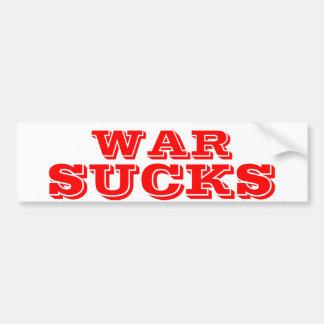 WAR SUCKS CAR BUMPER STICKER