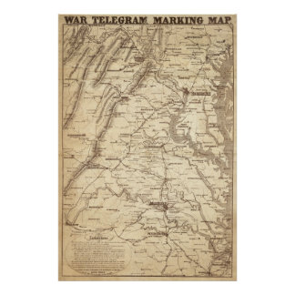 War Telegram Marking Map Poster