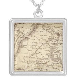 War Telegram Marking Map Silver Plated Necklace