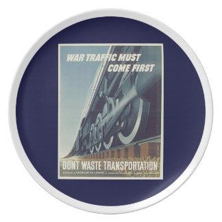 War Traffic Must Come First WW-2 Plate