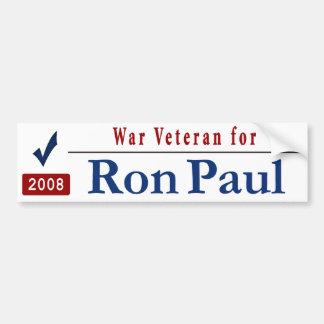 War Veteran for Ron Paul Car Bumper Sticker