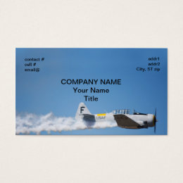 Warbird trailing smoke business card