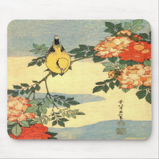 Warbler and Roses Mousemat Mouse Pads