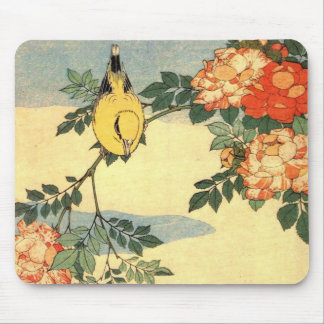 Warbler and Roses Mousemat Mousepads