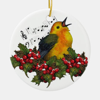 Warbler in Snow With Christmas Holly: Art Ceramic Ornament