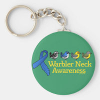 Warbler Neck Awareness Ribbon Basic Button Keychain