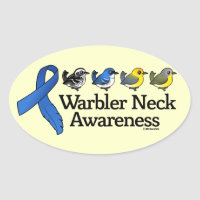 Warbler Neck Awareness Ribbon Oval Sticker