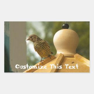 Warbler on the Lookout; Customizable Rectangular Sticker