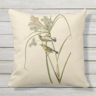 Warblers in Sedge Audubon Outdoor Throw Pillow