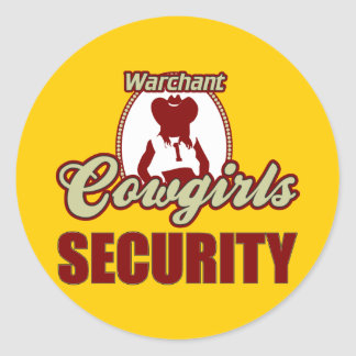Warchant Cowgirl Security Classic Round Sticker
