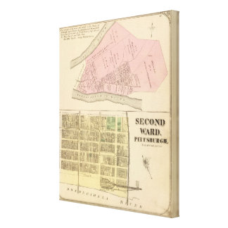 Ward 2 of Pittsburgh, Pennsyvania 1784 map Stretched Canvas Prints