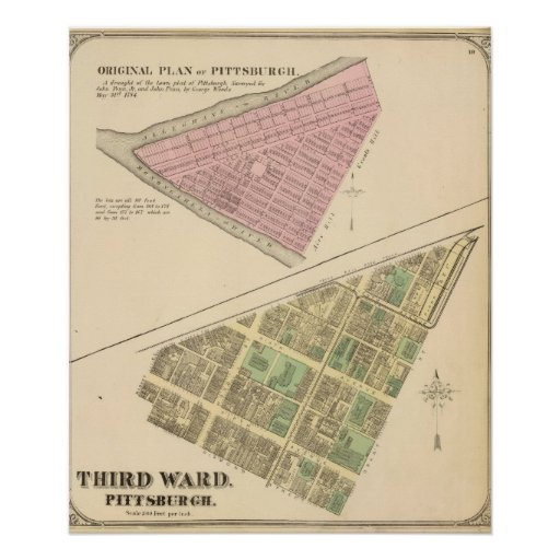 Ward 3 of Pittsburgh, Pennsyvania 1784 map Posters