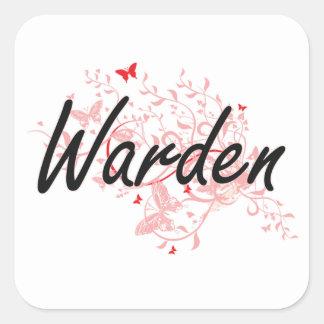 Warden Artistic Job Design with Butterflies Square Sticker