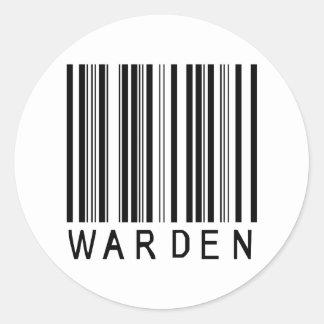 Warden Bar Code Classic Round Sticker