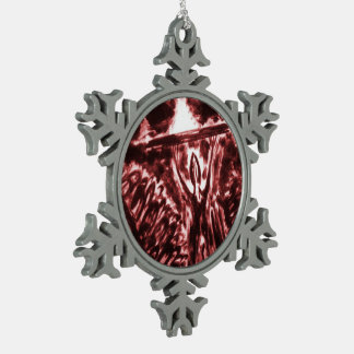 Warding Off Evil Snowflake Pewter Christmas Ornament