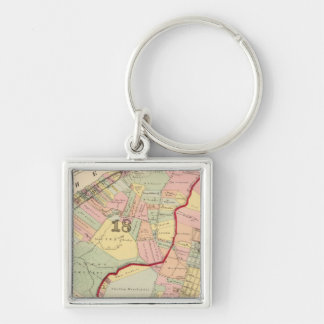 Wards 1819 of Pittsburgh, Pennsyvania Silver-Colored Square Keychain