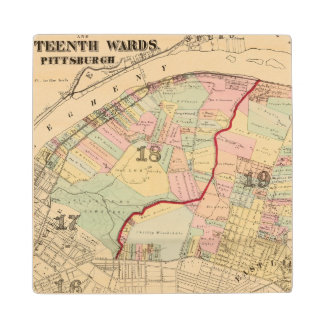 Wards 1819 of Pittsburgh, Pennsyvania Maple Wood Coaster