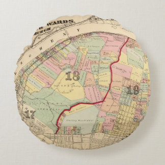 Wards 1819 of Pittsburgh, Pennsyvania Round Pillow