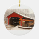 Ware Gilbertville Covered Bridge Winter Double-Sided Ceramic Round Christmas Ornament