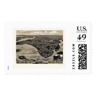 Wareham, MA Panoramic Map - 1885 Postage Stamp