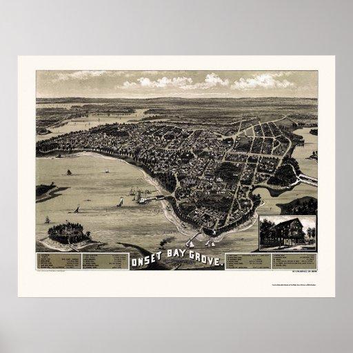Wareham, mapa panorámico del mA - 1885 Póster