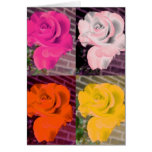 Warhol Style Multi Colored Roses Greeting Card