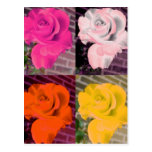Warhol Style Multi Colored Roses Postcard