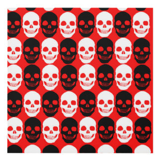 Warholesque Black and white and red skulls Panel Wall Art