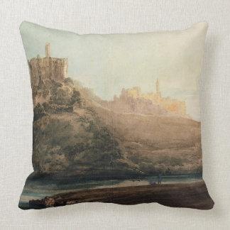Warkworth Castle, Northumberland, c.1798 (w/c, gou Throw Pillows
