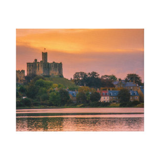Warkworth Village and Castle at sunset Canvas Print