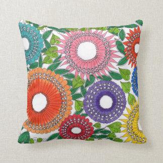 Warli flower patterned pillows