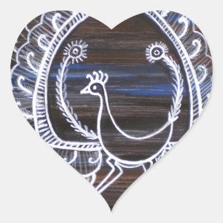 Warli Peacock Heart Sticker