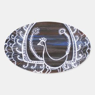 Warli Peacock Oval Sticker