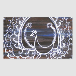 Warli Peacock Rectangular Sticker