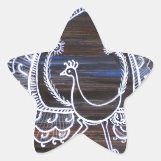 Warli Peacock Star Sticker