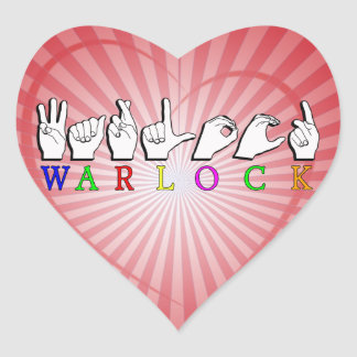 WARLOCK ASL FINGERSPELLED NAME SIGN HEART STICKERS