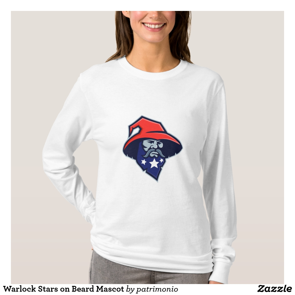 Warlock Stars on Beard Mascot T-Shirt - Best Selling Long-Sleeve Street Fashion Shirt Designs
