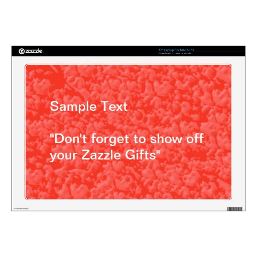 """Warm AMBER Brilliance - Add your text in White 17"""" Laptop Decals"""