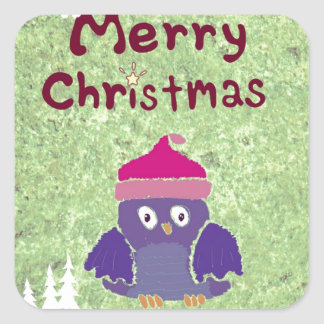 warm and fuzzy penguin Christmas Square Sticker