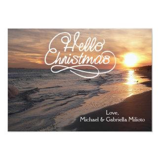 Warm Beach With Sunset Christmas Card