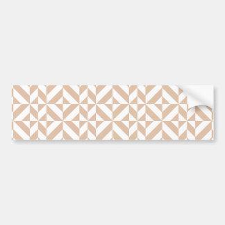 Warm Beige Geometric Deco Cube Pattern Bumper Sticker