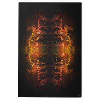 Warm Black Orange Acrylic Mixed Media Abstract Art