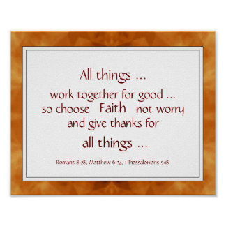 Warm Brown Bible Scripture Encouragement Quotes Poster