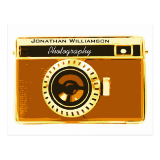 Warm Brown Camera Photography Business Postcard