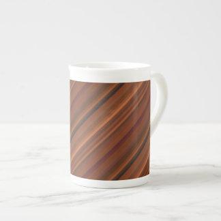 Warm Brown Stripe Tea Cup
